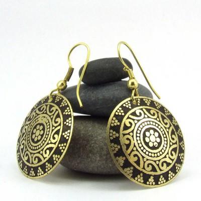 Boucles d'oreilles rondes Indiennes (bineo005)