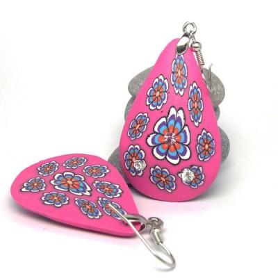 Boucles d'oreilles Indiennes polymères - Goutte rose fushia