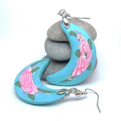 Boucles d'oreilles Indiennes polymères - Lune bleue turquoise