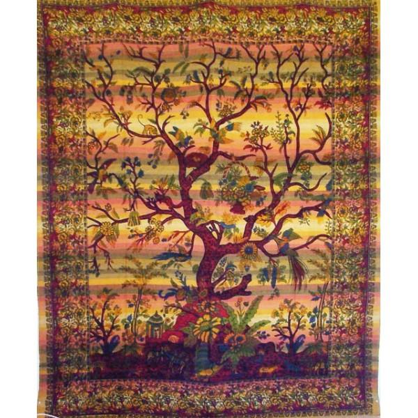 tenture indienne arbre de vie tgm018 tentures murales artisanales sur. Black Bedroom Furniture Sets. Home Design Ideas