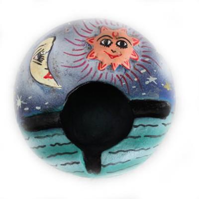 """Cendrier en Terre Cuite """"Lune et soleil"""" (cendtc009)"""