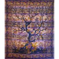 Tentures arbres de vie - Tapisserie aux teintes violette