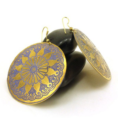 Boucles d'oreilles rondes Indiennes (bineo020g)
