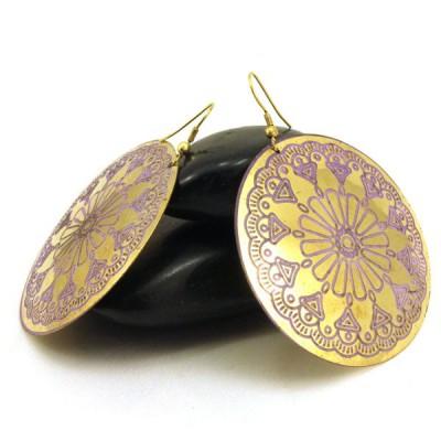 Boucles d'oreilles rondes Indiennes (bineo021g)