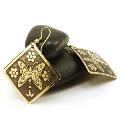 Boucles d'oreilles losange Indiennes (bineo019g)
