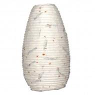 """Lampion indien en papier blanc cassé """"feuilles et fleurs"""" (lampip004)"""