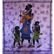 Tenture Africaine de villageois - Tenture de couleur violette