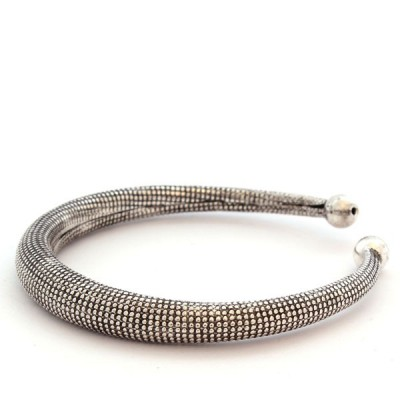 Bracelet Indien Motifs peau de serpent - Bracelet en métal blanc (010)