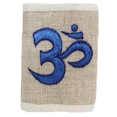 Portefeuille brodé en Chanvre du Népal - Ôm bleu