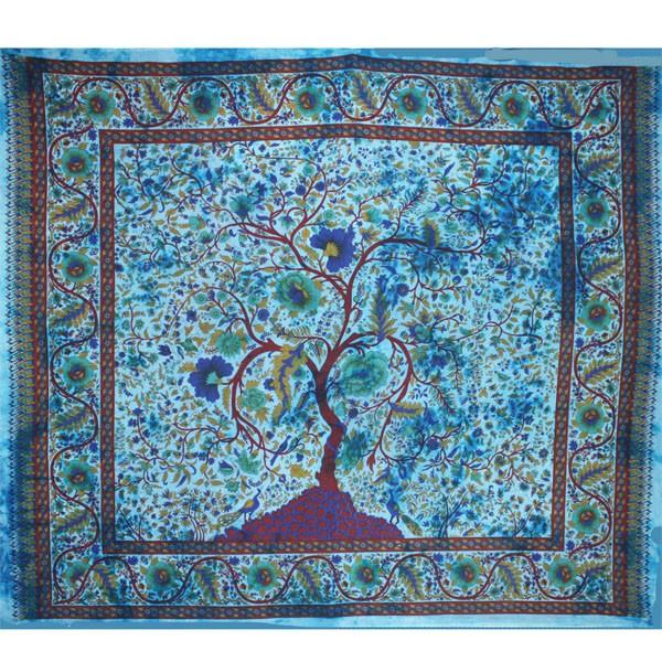 tenture indienne quot arbre de vie quot bleu tentures murales artisanales sur artiglobe