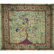 Tissu Indien Arbre de Vie - Grande Tapisserie verte