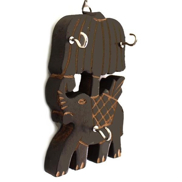 accroche cl mural elephant en bois artisanat de l. Black Bedroom Furniture Sets. Home Design Ideas