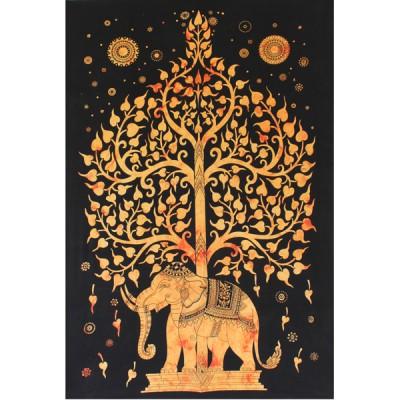 """Tenture Indienne """"Eléphant"""" (tmm201j)"""