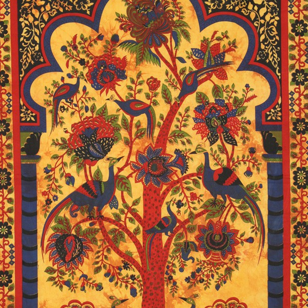 tenture indienne quot arbre de vie quot jaune sur artiglobe