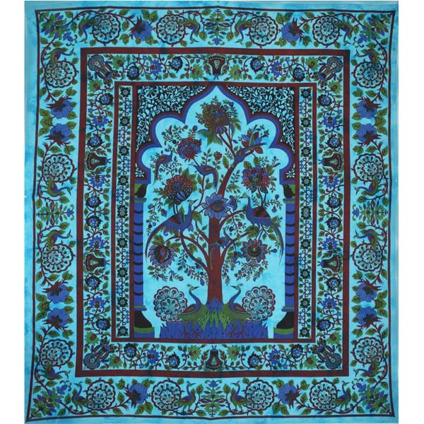 tenture indienne arbre de vie bleu tentures murales. Black Bedroom Furniture Sets. Home Design Ideas