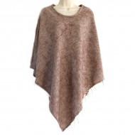 Poncho népalais marron clair - 100% laine (ponchpal05mc)