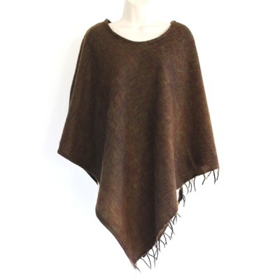 Poncho népalais marron - 100% laine (ponchpal07m)