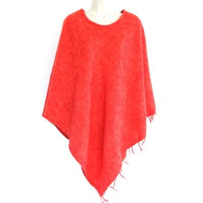 Poncho népalais orange - 100% laine (ponchpal12o)