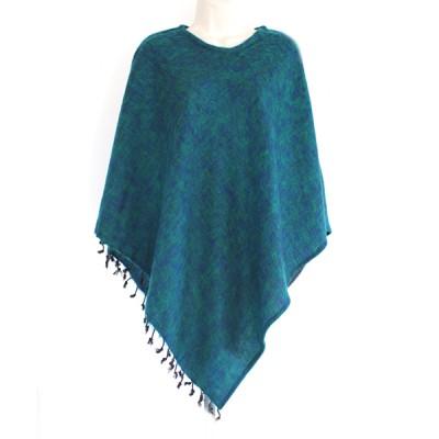 Poncho népalais vert-bleu - 100% laine (ponchpal14vb)