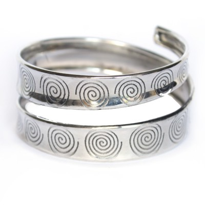 Bracelet Indien Motifs Spirales - Bracelet en métal blanc(004)