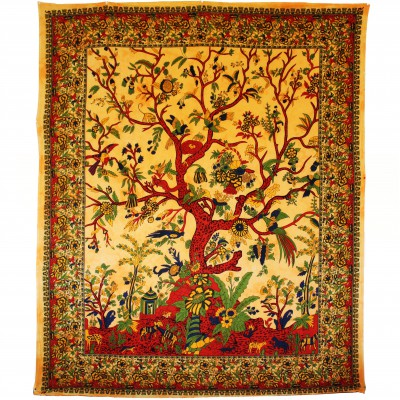 Tenture indienne arbre de vie ocre tentures murales for Decoration murale arbre de vie