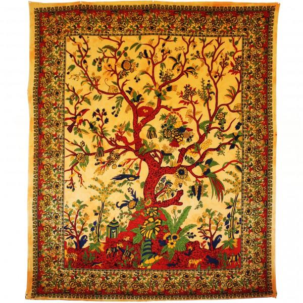 tenture indienne quot arbre de vie quot ocre tentures murales artisanales sur artiglobe