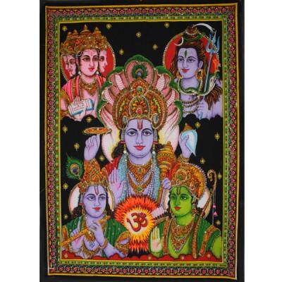 """Tenture Batik """"Divinités Indiennes"""" (ptbfl15)"""