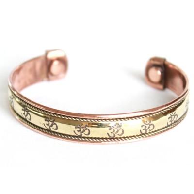 """Bracelet Cuivre et Aimants """"Om"""" (brincui07/2)"""