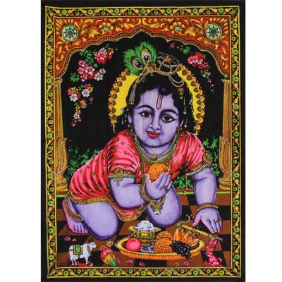 """Tenture Batik """"Bébé Krishna"""" (ptbfl11/2)"""