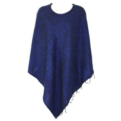 Poncho népalais bleu foncé - 100% laine (ponchpal09/2bf)