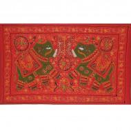 Tenture Brodée Rouge - Eléphants (ptr059el)