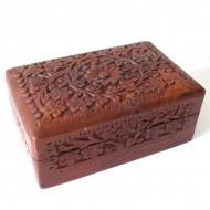Boite indienne en bois sculptée (bteb009)