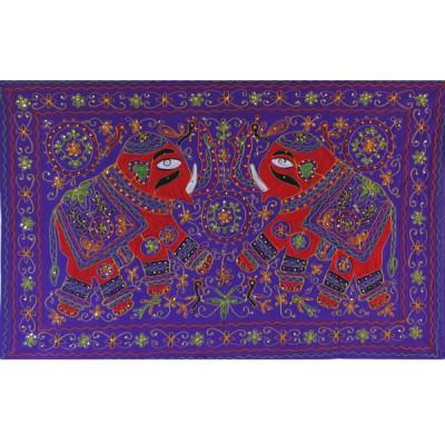 Tenture Brodée Violette - Eléphants (ptr051/2el)