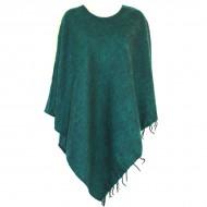 Poncho népalais vert foncé - 100% laine (ponchpal11/2vf)