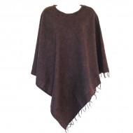 Poncho népalais marron foncé - 100% laine (ponchpal13/2mf)