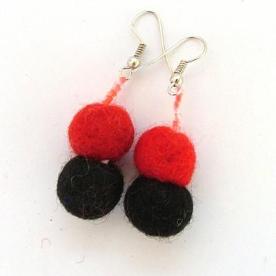 Boucles d'oreilles en laine bouillie(bolb016)