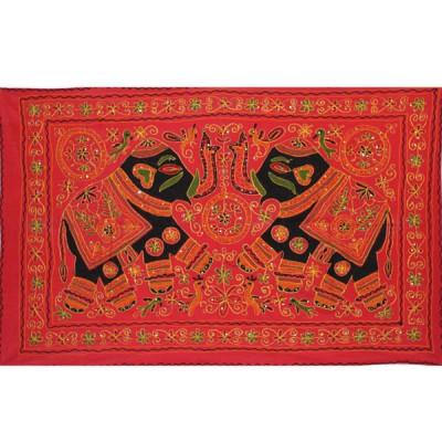 Tenture Brodée Rouge - Eléphants (ptr061/2el)
