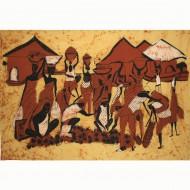 "Tenture Batik - ""Village""(tb08v)"