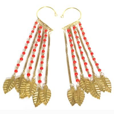Tours d'oreilles Indiens rouge et or (binto002/2)
