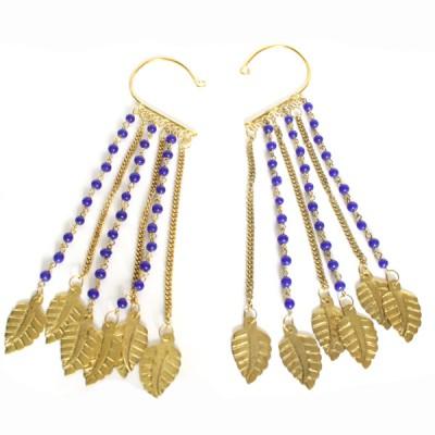 Tours d'oreilles Indiens bleu et or (binto004/2)