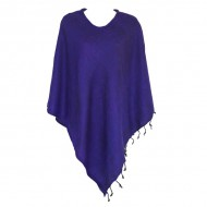 Poncho népalais violet - 100% laine (ponchpal17vl)