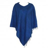 Poncho népalais bleu - 100% laine (ponchpal20b)