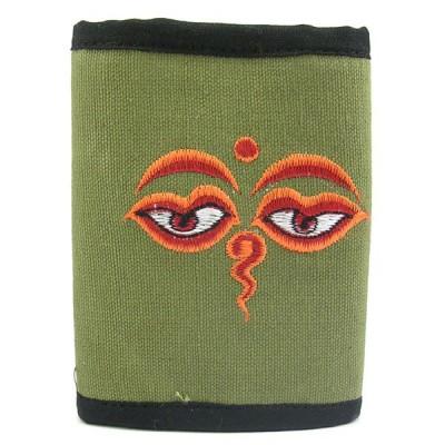 Portefeuille brodé du Népal - Yeux du bouddha - Vert