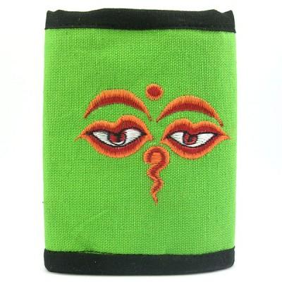 Portefeuille brodé du Népal - Yeux du bouddha - Vert Fluo