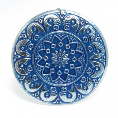 Boucles d'oreilles rondes Indiennes (Grandes) - bleues