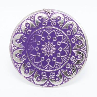 Boucles d'oreilles rondes Indiennes (Grandes) - violettes