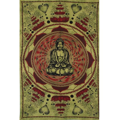"Tenture Indienne ""Bouddha Lotus"" (tmm130)"