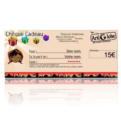 Chèque cadeau 15€ par email