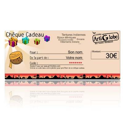 Chèque cadeau 30€ par email
