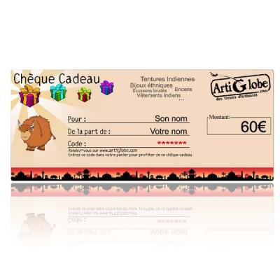 Chèque cadeau 60€ par email